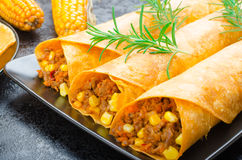 Tomato tortilla with spicy meat mixture Stock Image