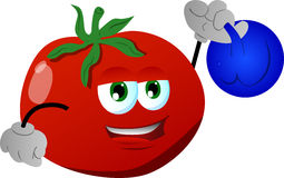 Tomato training with kettlebell Royalty Free Stock Photography