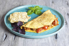 Tomato and Tuna omelette Stock Photo