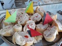 Tomato and tuna snacks Brazil x Germany royalty free stock photo