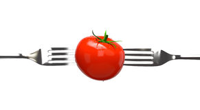 Tomato and two Forks. Isolated on white. Concept image, clipping paths royalty free illustration