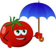 Tomato with umbrella Royalty Free Stock Images