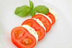 Tomato und Mozzarella. Tomato and mozzarella on plate Stock Image