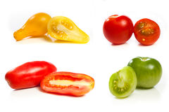 Tomato variety collage. High resolution collage of four variety of tomato against a white back ground Stock Image