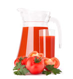 Tomato vegetable juice in glass jug Stock Photography