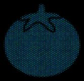 Tomato Vegetable Mosaic Icon of Halftone Spheres. Halftone Tomato vegetable collage icon of spheric bubbles in blue color tones on a black background. Vector Royalty Free Stock Image