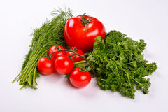 Tomato Vegetables with Dill and Parsley Leaves Royalty Free Stock Image