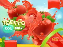 Tomato vegetables. Splash of juice. 3d realistic vector. Package design Royalty Free Stock Photo