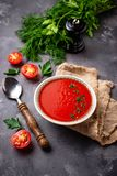 Tomato vegetarian soup gazpacho in bowl Royalty Free Stock Images