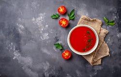 Tomato vegetarian soup gazpacho in bowl Stock Image