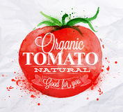 Tomato watercolor poster. Poster with red watercolor tomato lettering organic tomato natural good for you Stock Images