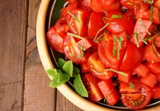 Tomato and watermelon salad Stock Photos