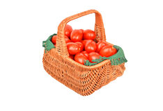 Tomato in a wattled basket Stock Image