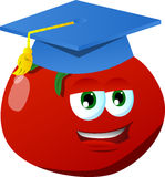 Tomato wearing graduation cap Royalty Free Stock Photography