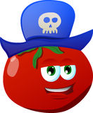 Tomato wearing pirate hat Royalty Free Stock Images