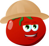 Tomato wearing scout or explorer hat Stock Image