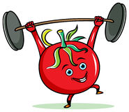 Tomato weight-lifter Stock Image