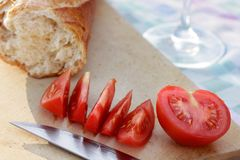 Tomato and white bread royalty free stock photo