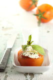 Tomato and white cheese. White cheese and tomato with olive oil and grounded pepper, an appetite  of mediterranean food Royalty Free Stock Photography