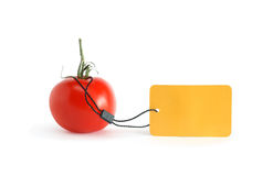 Tomato With Price Tag Stock Photography