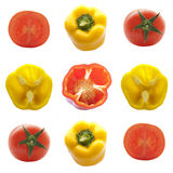 Tomato and yellow and red bell peppers Royalty Free Stock Image