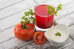 Tomato yogurt mix juice. A potrait of combination tomato and yogurt into a juice Royalty Free Stock Photos
