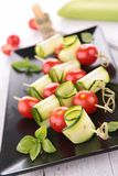 Tomato and zucchini kebab Stock Photography