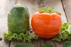 Tomato and  zucchini slices. Stock Photos
