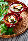 Tomato and zucchini soup Stock Photo
