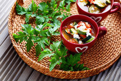 Tomato and zucchini soup Stock Images