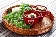 Tomato and zucchini soup Stock Image