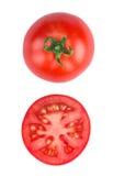 Tomatoe affettato isolato sulla vista superiore del fondo bianco Immagine Stock Libera da Diritti
