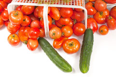 Tomatoe Basket with Dill and Cucumbers. An angled studio view of a basket of ripe field tomatoes with a sprig of dill and a couple of cucumbers Stock Photos