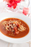 Tomatoe, beef and noodle soup Stock Photography