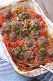 tomatoe för nötköttmeatballssås royaltyfri foto