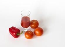 Tomatoe fruktsaft Fotografering för Bildbyråer
