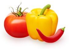 Tomatoe med gräsplansidor, röd chili och gula spanska peppar Royaltyfri Bild