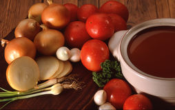 Tomatoe onion soup Stock Photos