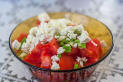 Tomatoe salad with cheese Stock Photos
