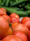 Tomatoes. A pile of tomatoes with cucumbers as background Stock Photography