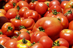 Tomatoes. Pile of tomatoes in a market Stock Images