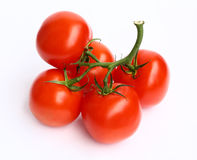 Tomatoes. Vine ripened tomatoes on white background Royalty Free Stock Photos