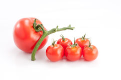 Tomatoes. Fresh Tomatoes (over white background) - a big one and some smaller stock images