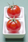 Tomatoes. Two red and fresh tomatoes on a kitchen plate Royalty Free Stock Images