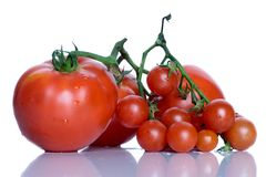 Tomatoes. Three big tomatoes and a bunch od cherry tomatoes with their reflection Stock Images