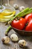 Tomatoes, asparagus Stock Photos