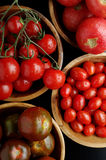 Tomatoes assortment. Top view of various tomatoes in wood bowls Stock Photo
