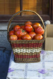 Tomatoes in bascket royalty free stock photos