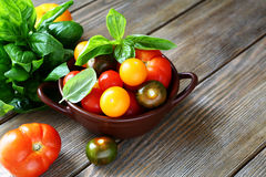 Tomatoes and basil in a bowl Royalty Free Stock Image