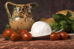 Tomatoes, basil and cheese Royalty Free Stock Image